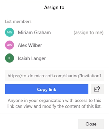 Screenshot with the Assign to menu and the option to assign a task to List members Miriam Graham, Alex Wilber or Isaiah Langer.