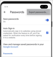 Android Chrome Export passwords location