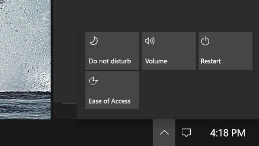 Shows the Quick Actions center on Surface Hub.