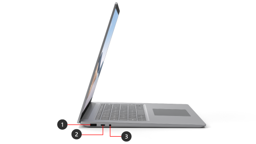 A Surface Laptop 4 with the ports shown