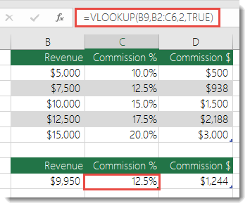 Formula in cell C9 is =VLOOKUP(B9,B2:C6,2,TRUE)