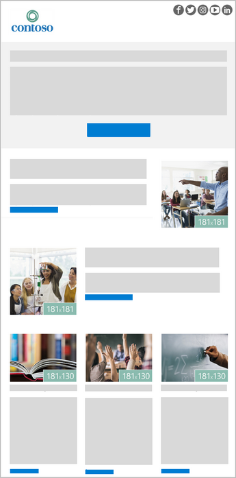A 5-image Outlook newsletter template