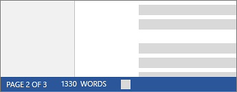 Word count in status bar