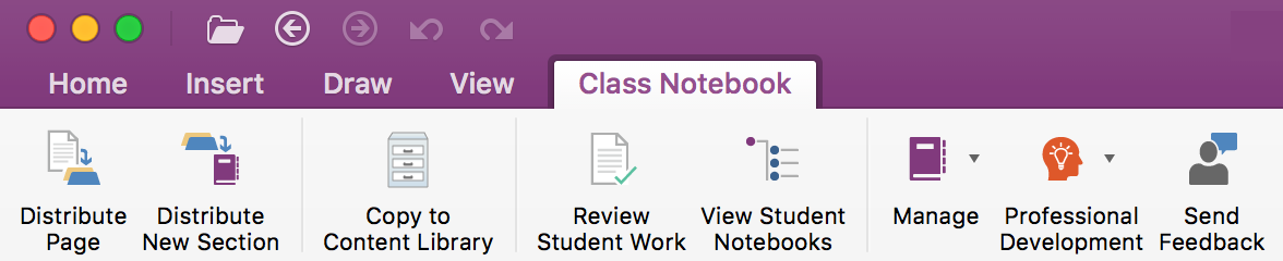 Class Notebook Management Tools on the ribbon