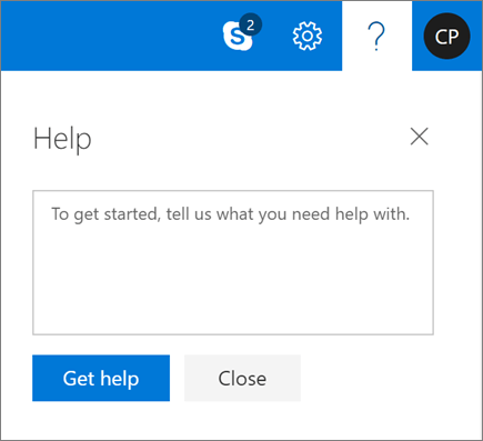 A screenshot shows the Help dialog box where you can enter information about an issue and then select the Get help button.