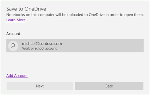 Screenshot of the Save to OneDrive prompt in OneNote