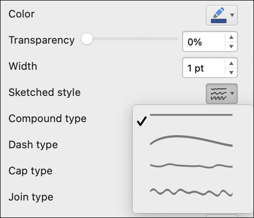 Line format options in Mac with Sketched style selected