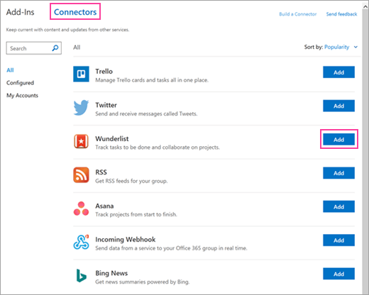 A screenshot of available connected services in Outlook 2016