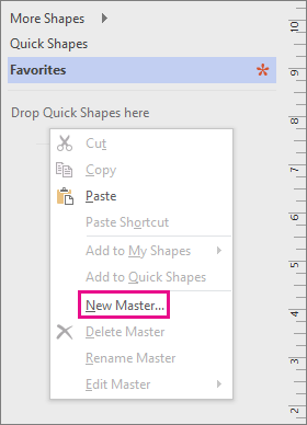 Right-click in the Shapes window, below the list of stencils, and then click New Master.