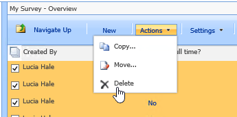 From the Actions button, click Delete to delete selected data