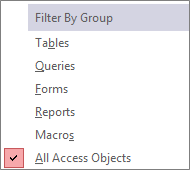 Navigation Pane Filter by Group Menu