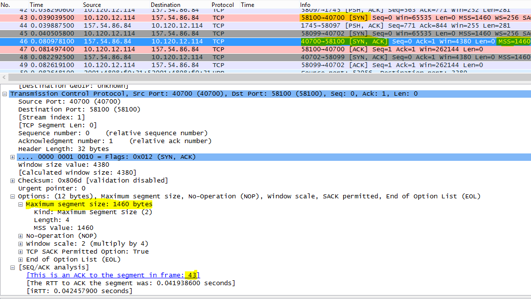Trace filtered in Wireshark by tcp.options.mss for Max Segment Size (MSS).