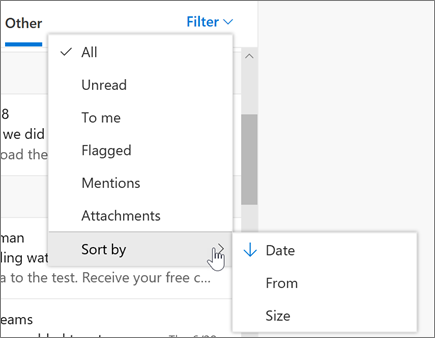 Filtering email in Outlook on the web