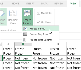 View tab, Freeze panes menu, Freeze panes command