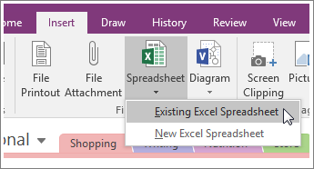 Screenshot of the Insert Spreadsheet button in OneNote 2016.