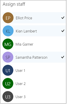 Staff who are assigned to a service have a checkmark next to their name