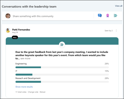 Image of the Yammer web part on the leadership site template