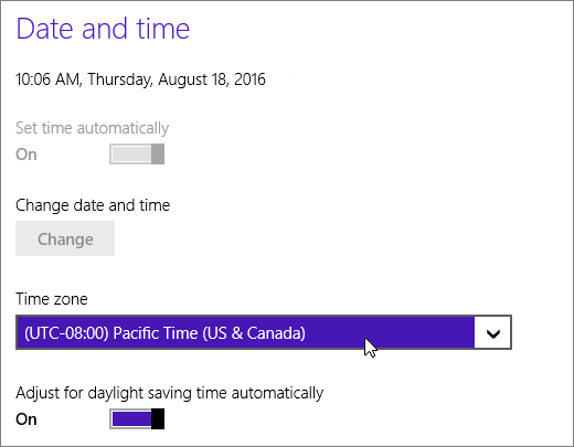 A screenshot showing the Date and Time menu in Windows 8.
