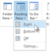 Reading Pane on the right command on the ribbon