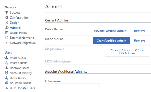 Screenshot showing the list of admins