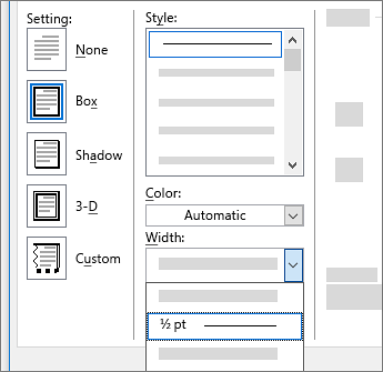 Page border settings