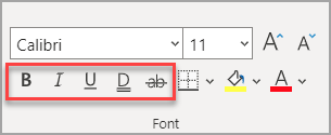The Font section of the Home tab, with effects highlighted.