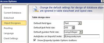 Access Options table design settings