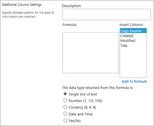 Calculated column options