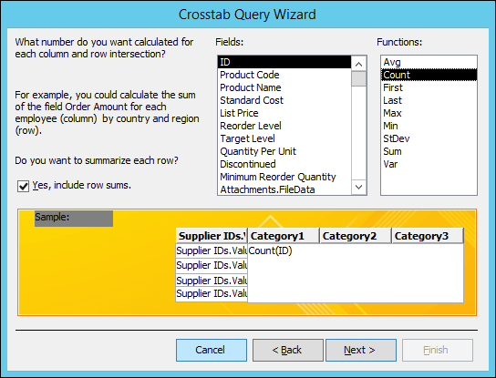 Select a field and function to calculate on the Crosstab query wizard.