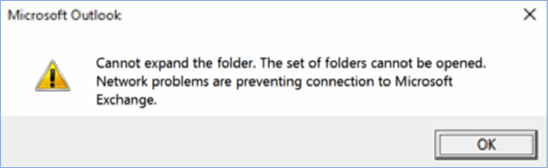 Outlook 2016 error - cannot expand the folder