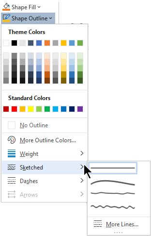 The Sketched options on the Shape Outline menu.