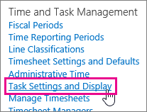 Task Settings and Display
