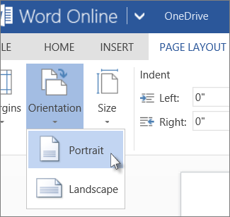 Image of Page Layout option you can use to switch between portrait and landscape orientations in Word Online