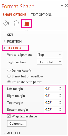 Text Box options on the Format Shape pane
