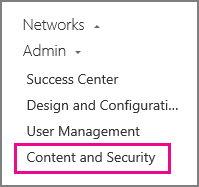 Admin settings for Content and Security