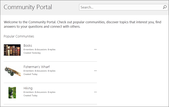 Example of a community portal