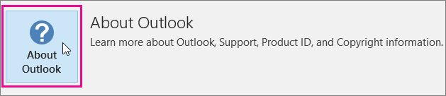 Choose the About Outlook box