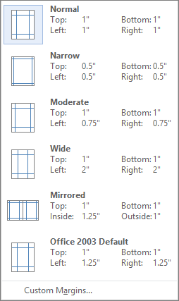 From the Layout tab, shows the options for margins,