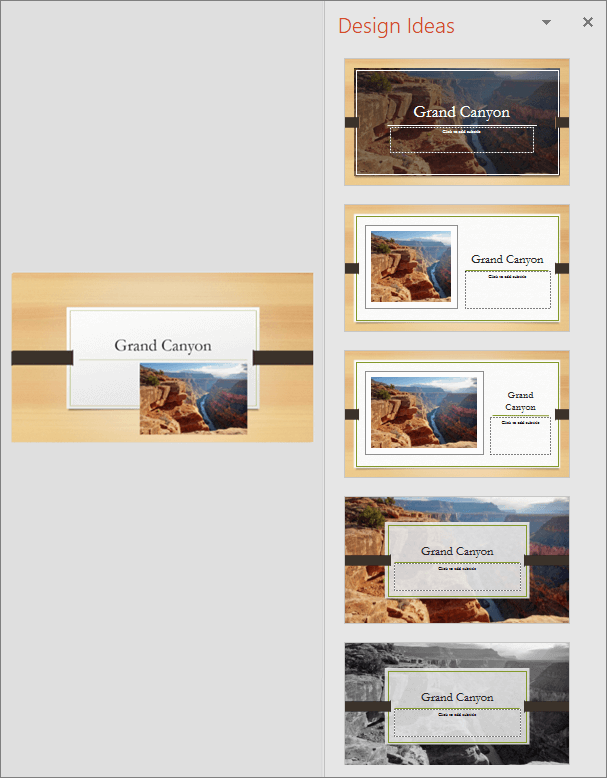 Shows an example of Design Ideas for PowerPoint