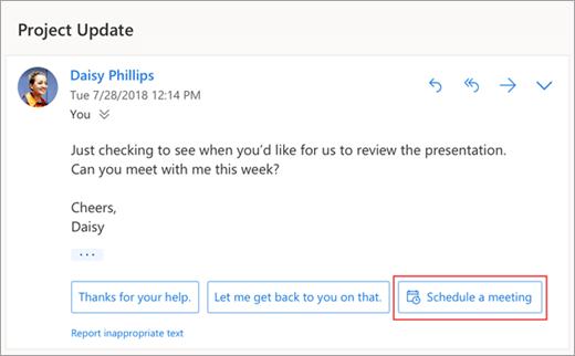 A screenshot of the suggested reply to schedule a meeting