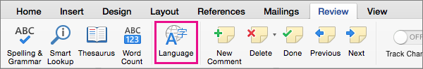 On the Review tab, click Language to set the language of selected text.