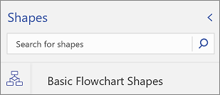 Search box for shapes on the Shapes palette