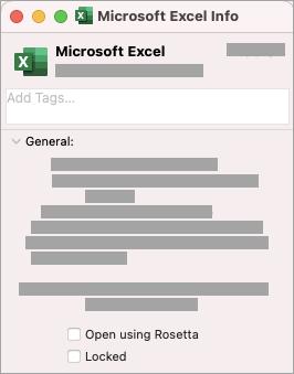 Select the checkbox for Open using Rosetta.