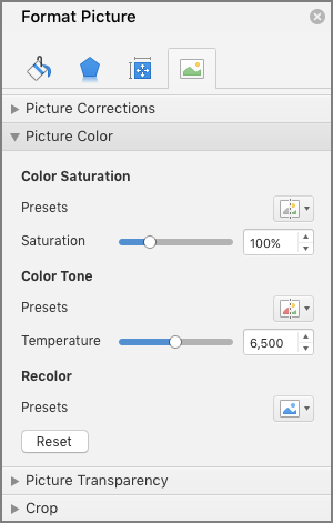Adjust the color saturation settings in the Format Picture pane