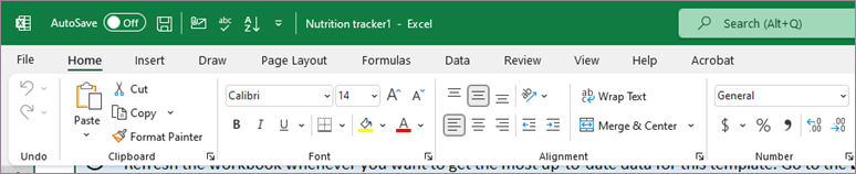 Default view of ribbon and tabs
