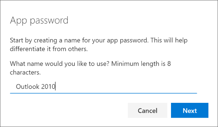 """Screenshot that shows the """"App password"""" page, with the name of the app entered"""
