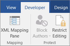 On the Developer tab, in the Protect group, click Restrict Editing