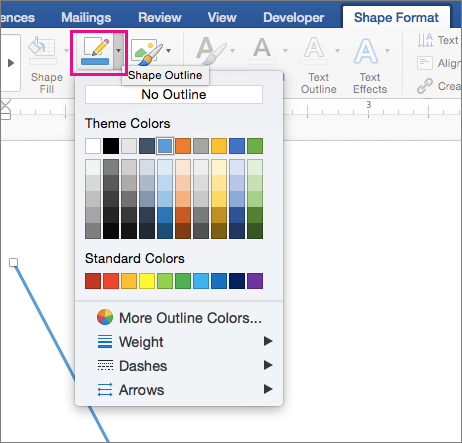 Shape Format tab with Shape Outline option highlighted.