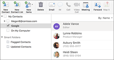 Contact list showing Google contacts