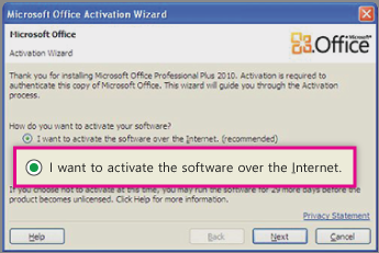 Activate the software over the Internet